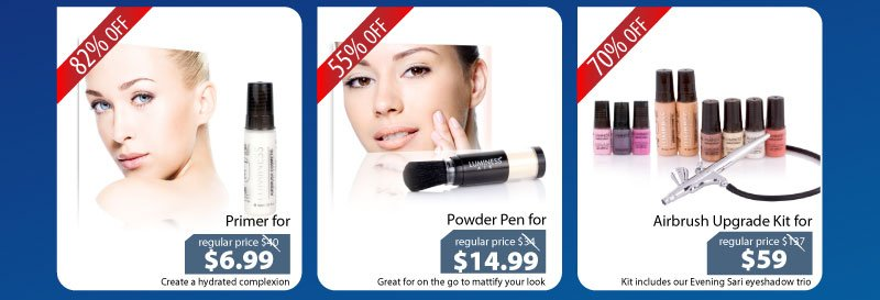 Purchase our Primer for $6.99, Powder for $14.99 and our Airbrush Upgrade Kit for $59.