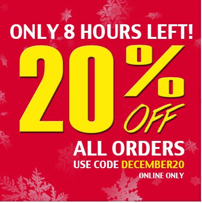 Only 8 hours left. 20% off all orders.