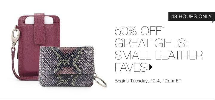 50% Off* Small Leather Gifts...Shop Now