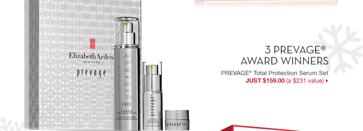 3 PREVAGE® AWARD WINNERS. PREVAGE® Total Protection Serum Set. JUST $159.00 (a $231 value).
