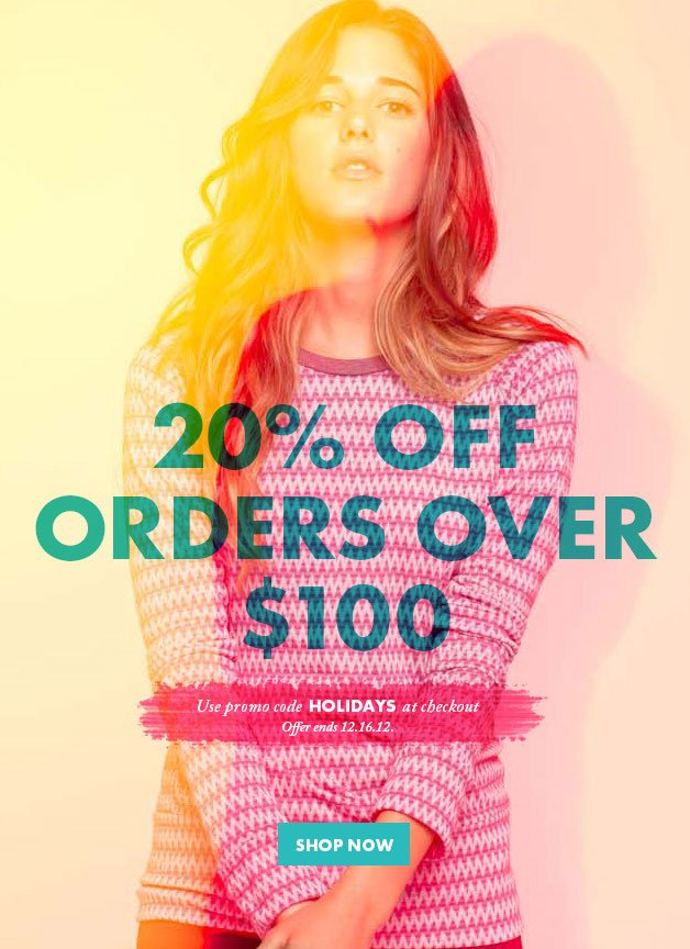 -, 20% OFF ORDERS OVER $100