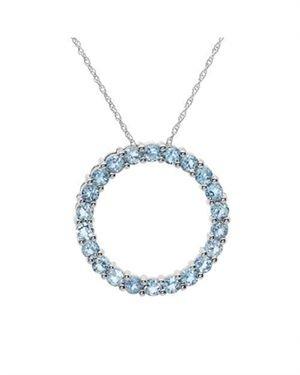 Ladies Topaz Necklace Designed In 10K White Gold