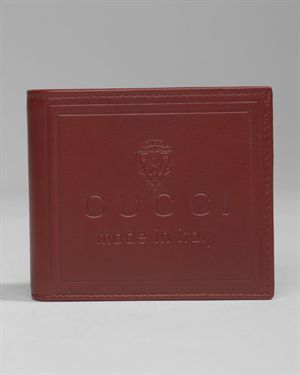 Gucci Logo Embossed Genuine Leather Wallet