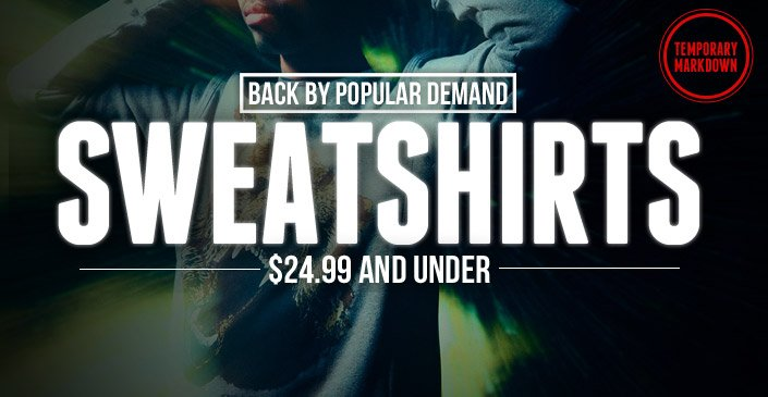 Back By Popular Demand – Sweatshirts $24.99 and Un