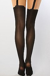 The Faux Garter Tights in Black