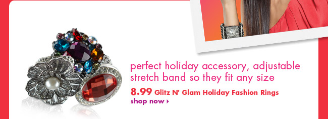 Glitz N' Glam Holiday Fashion Rings