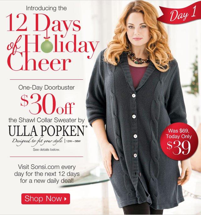 One Day Doorbuster Shawl Collar Sweater by Ulla Popken