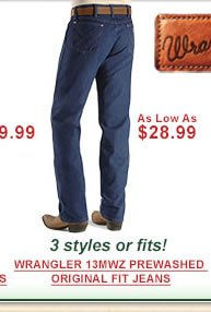 Wrangler 13MWZ Original Fit Prewashed Jeans as low as $28.99