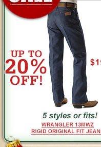 Wrangler 13MWZ Orginial Fit Rigid Jeans $19.99