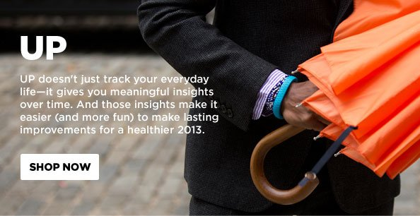UP doesn't just track your everyday life - it gives you meaningful insights over time. And those insights make it easier (and more fun) to make lasting improvements for a healthier 2013