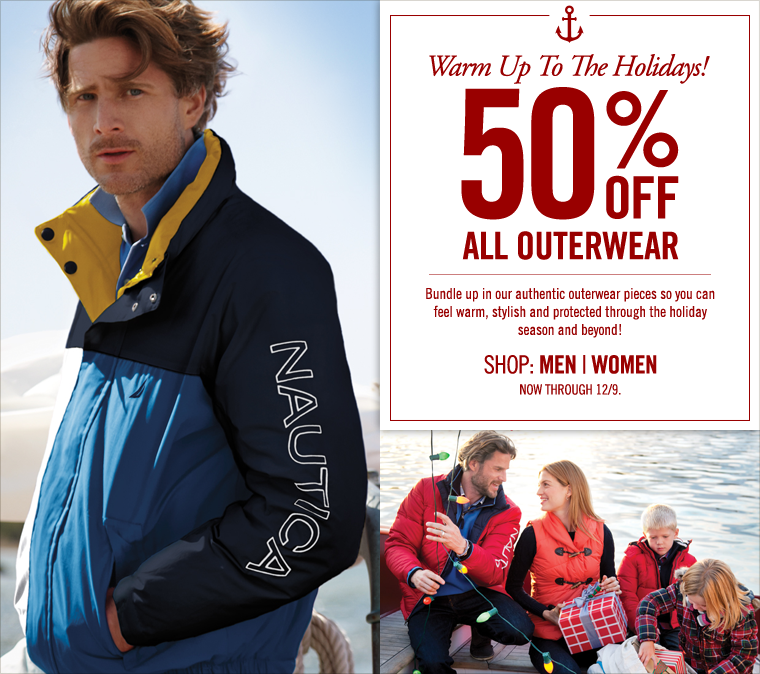 Warm Up To The Holidays! 50% Off Men's,Women's and Kid's Outerwear. Now through 12/9. Bundle up the whole family in our bravest outerwear pieces so they can feel warm, stylish and protected through the holiday season and beyond!