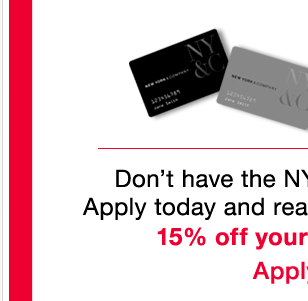 Apply today and get 15% off your first purchase