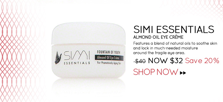 Simi Essentials Almond Oil Eye Crème Features a blend of natural oils to soothe skin and lock in much-needed moisture around the fragile eye area. WAS $40 NOW $32 Save 20% Shop Now>>