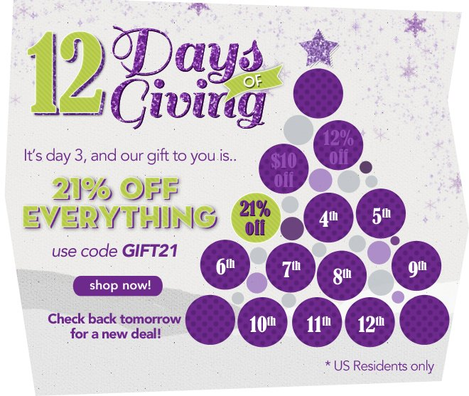 21% off everything for the 12 Days of Giving, Day 3