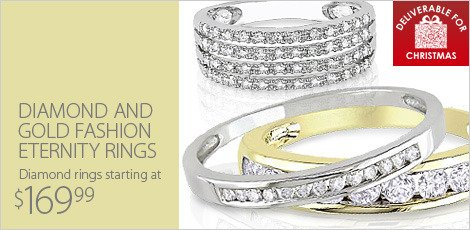 Diamond and Gold Fashion Eternity Rings
