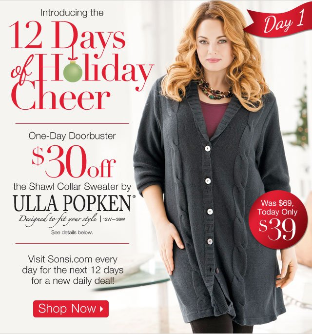 One Day Doorbuster Shawl Collar Sweater by Ulla Popken