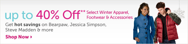 get set for a stylish winter - up to 40% OFF* select Winter Apparel, Footwear & Accessories - Shop Now