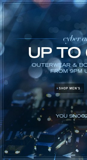 UP TO 60% OFF ON OUTERWEAR & BOOTS / SHOP MEN'S