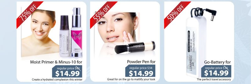 Purchase our Primer & Minus-10 for $14.99, Powder for $14.99 or our Go-Battery for $14.99.