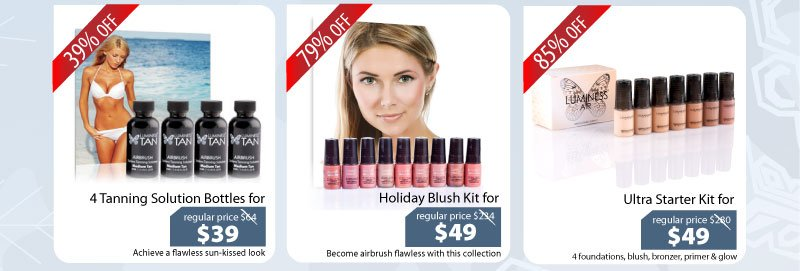 Purchase our 4 Tanning Solutions for $39, Holiday Blush Kit for $49 or our Ultra Starter Kit for $49.