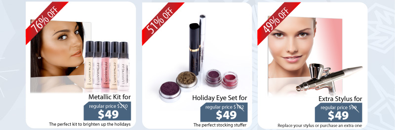 Purchase our Metallic Kit for $49, Holiday Eye Set for $49 or our Stylus for $49.