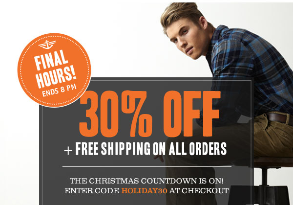 FINAL HOURS! 30% off + Free Shipping on All Orders! Use code HOLIDAY30 at checkout