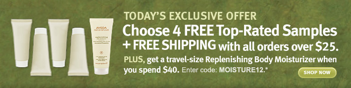 today's exclusive offer. choose 4 free top-rated samples + free shipping with all orders over $25. shop now.