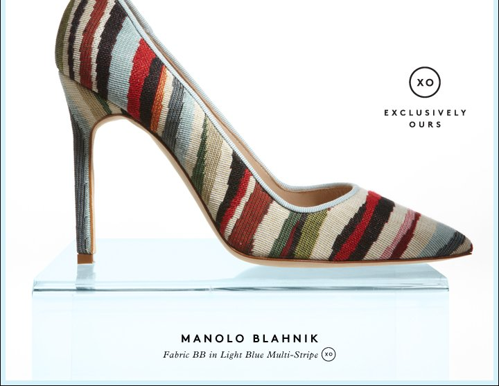 Show your stripes: Shop Manolo Blahnik shoes.