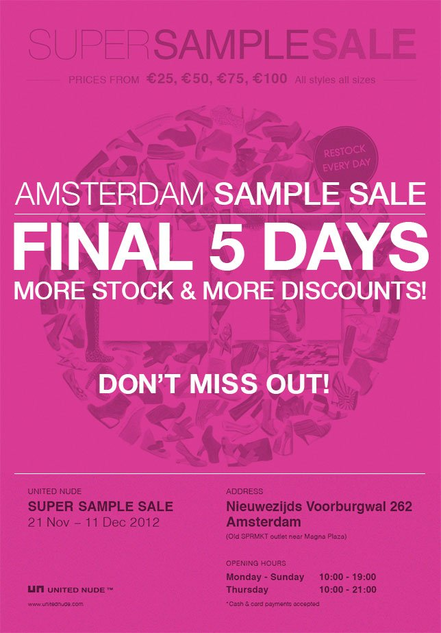 Amsterdam Super Sample Sale | Final 5 Days | More Stock & More Discounts!