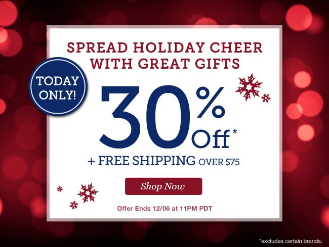 Today Only! | 25% Off + Free Shipping over $75 | Shop Now