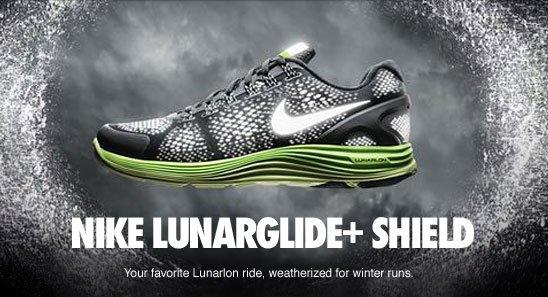 NIKE LUNARGLIDE+ SHIELD | Your favorite Lunarlon ride, weatherized for winter run.