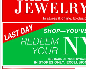 Redeem Your NYCash! In Stores Only.  Find a Store!