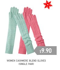 WOMEN CASHMERE BLEND GLOVES (single pair)