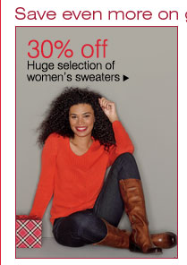 30% off Huge selection of women's sweaters