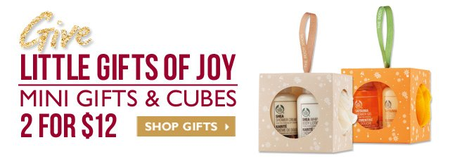 Give little gifts of JOY MINI GIFTS and CUBES -- 2 for $12