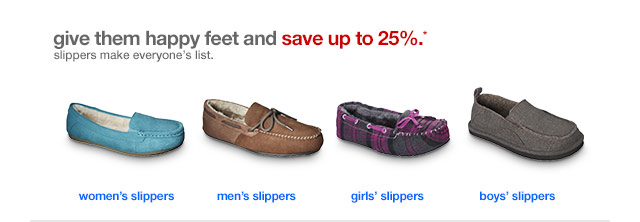 Give them happy feet and save up to 25%.