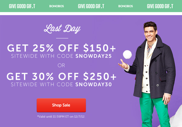Ends Tomorrow: Get $30 off $250+