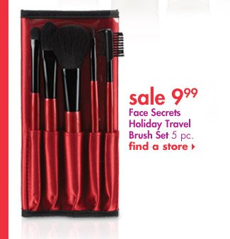 Face Secrets Travel Brush Set with Wrap Bag