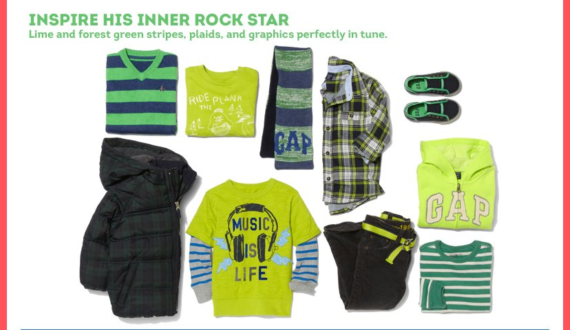 Inspire his Inner Rock Star | Lime and forest green stripes, plaids, and graphics perfectly in tune.
