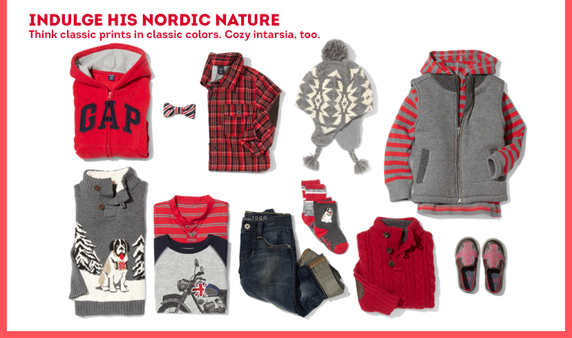 Indulge his Nordic Nature | Think classic prints in classic colors. Cozy intarsia, too.