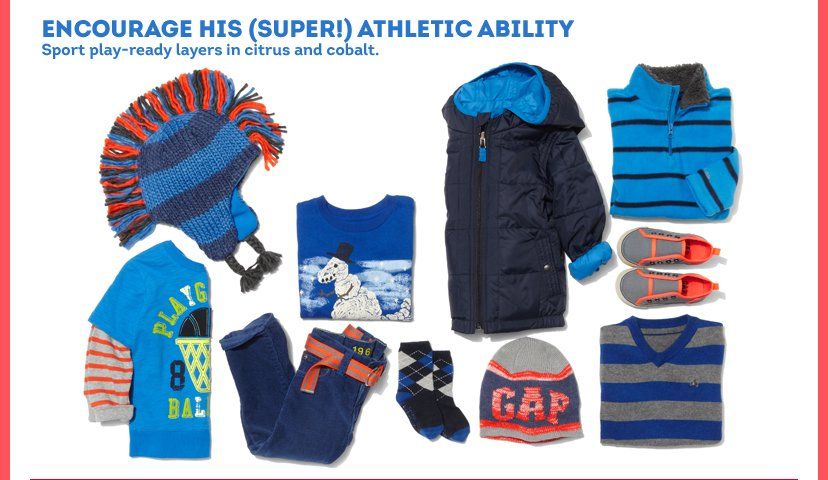 Encourage his (Super!) Athletic Ability | Sport play-ready layers in citrus and cobalt.