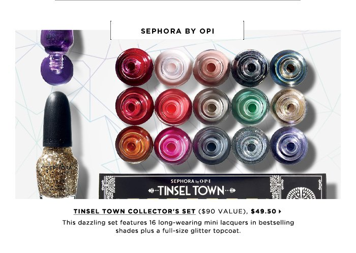 This dazzling set features 16 long-wearing mini lacquers in bestselling shades plus a full-size glitter topcoat. new . exclusive . limited edition. SEPHORA by OPI Tinsel Town Collector's Set ($90 Value), $49.50