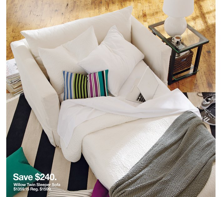 Save $240. Willow Twin Sleeper Sofa $1359.15 Reg.  $1599.