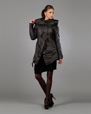 Areline Button & Tie Closure Hooded Solid Color Coat