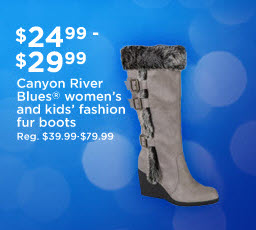 $24.99 - $29.99 Canyon River Blues(R) women's and kids' fashion fur boots | Reg. $39.99-79.99