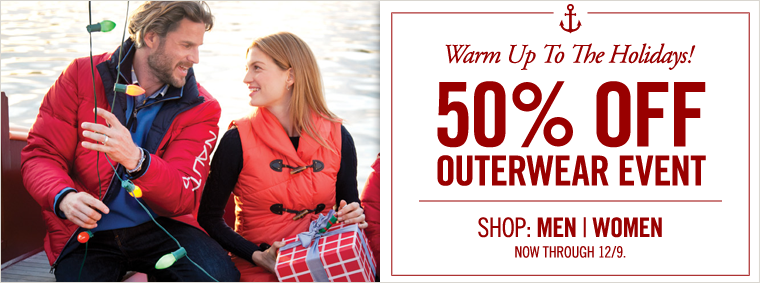 Warm Up to the Holidays! 50% Off Outerwear Event. Some Exclusions Apply.