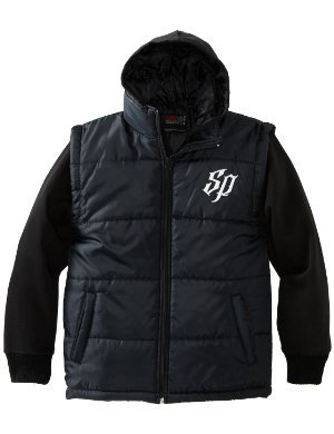 Southpole <br/>Twofer Padded Vest with Long Sleeve Fleece Hoody