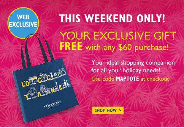 ONLINE EXCLUSIVE!  This weekend only! Your exclusive gift Free with any $60 purchase! Who says you can't take it with you!   Beautiful and spacious, our reusable tote is the ideal shopping companion for all your holiday needs!  Use code MAPTOTE at checkout  Shop Now
