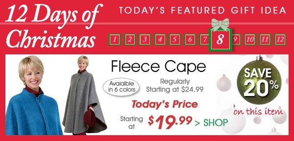 Today Only! Save 20% on Fleece Cape - Starting  $19.99