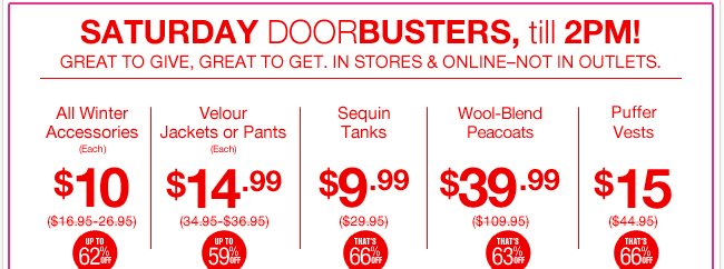 Shop Saturday Doorbusters till 2pm both In Store and Online!